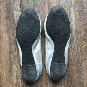 Tory Burch Shoes - Tory Burch Minnie Flat Silver Metal